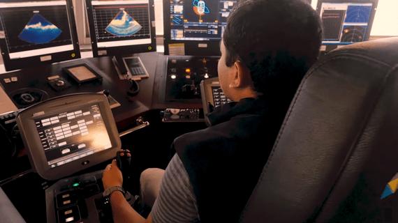 Rock dumping ROV simulator