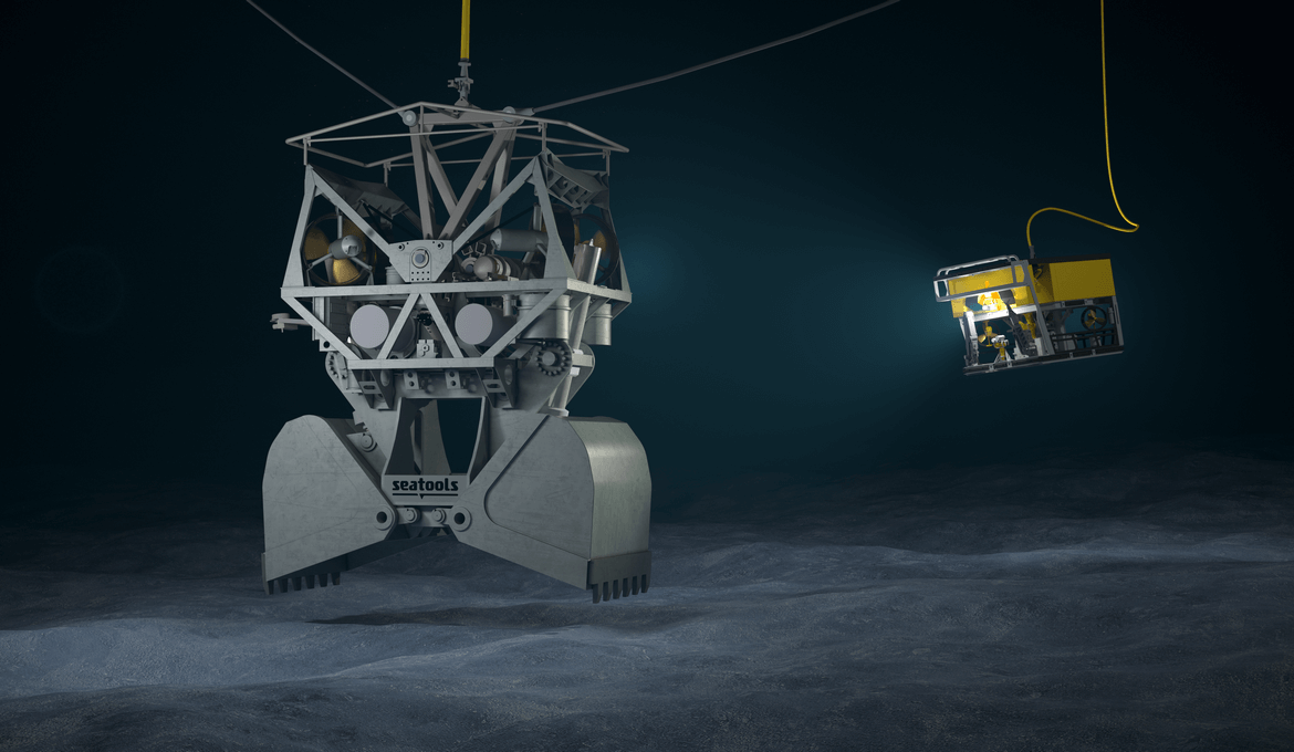 Lowering the GES deep sea excavation system