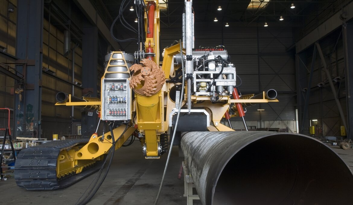 Front view of subsea pipeling trenching vehicle