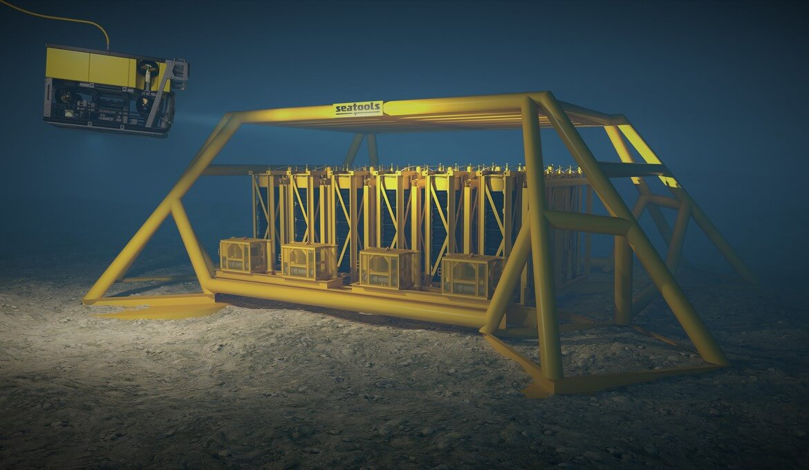 Subsea liquid storage for storage of chemicals